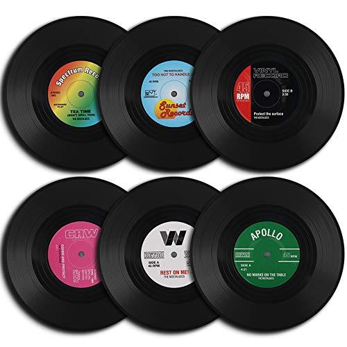 homEdge Vinyl Schallplatten Untersetzer, 6Stück von Retro Style Vinyl Untersetzer
