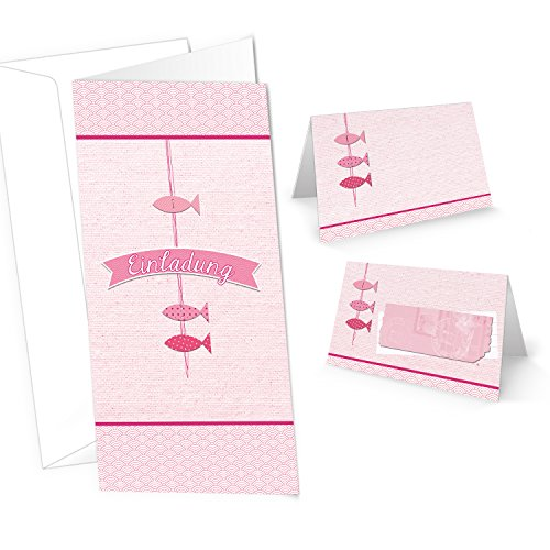 SET mit 10 Einladungskarten + 25 Tischkarten rosa pink rose 3 Fische zur Taufe Kommunion Firmung Kindergeburtstag Geburtstag maritim MIT KUVERT zur Tischdeko - Einladung + Namensschilder