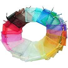Leisial 100pcs Bolsa Blanca Organza Bolsas de Regalo de Colores Mezclados Bolsas Caramelo Recuerdo de Boda Joyas Especia,9*7cm