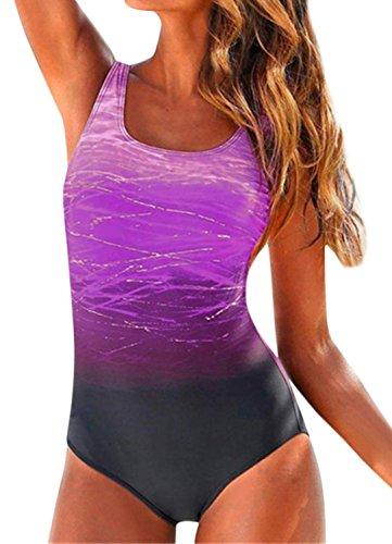 Ybenlover Damen Einteiliger Badeanzug Bauchweg Monokini Push Up Rückenfrei ()