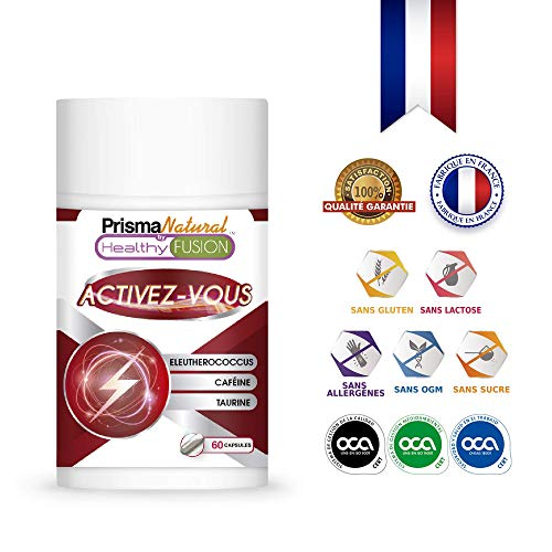 ACTIVEZ-VOUS | CAFÉINE + TAURINE + ÉLEUTHÉROCOQUES | Stimulant énergétique puissant | Élimine la fatigue et Améliore l'endurance physique et la concentration | Stimule la performance musculaire | 60U.