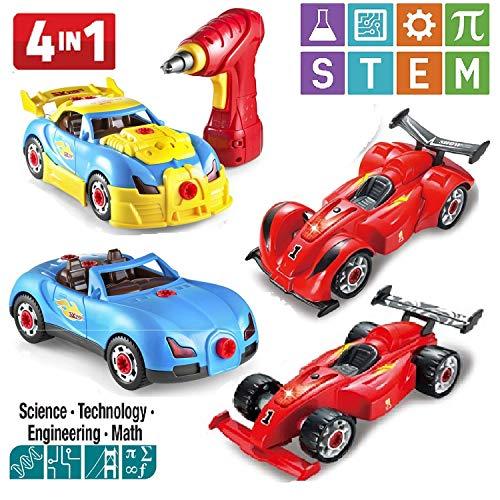 Prextex 4 in 1 Bauen Sie Ihr eigenes Racer-Auto-Set mit echten Arbeitsbohrer und Schrauben 53 Stück Auseinandernehmbares Spielzeug für Jungen und Mädchen mit Lichter und Tönen