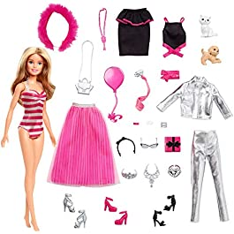 Barbie – Calendario dell'Avvento, 24 Sorprese da Scoprire, Bambola Inclusa, Giocattolo per Bambini 3+ Anni, GFF61