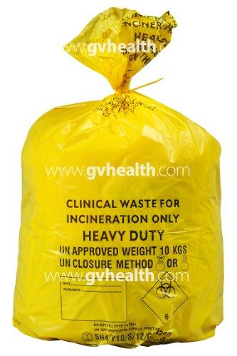 GV Health Abfalltüten für medizinische Abfälle, Stärkegrad Heavy Duty, groß, Gelb, 4Rollen à 25Stück