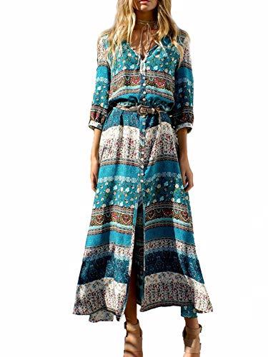 Yidarton Robe Femme Bohème Impression Manche 1/2 Col V Chic Été Floral Robe Maxi Robe de Cocktail Soirée Ceremonie Plage (Vert, Large)