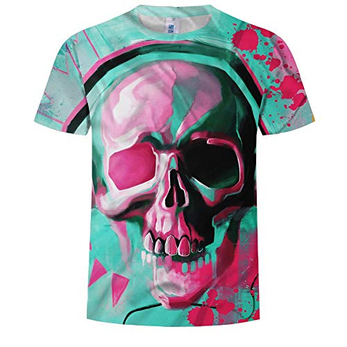 LINGYUANSALE Männer Kurzarm 3D Schädel Kopf Gedruckt Rundhals T-Shirt Sommer Herbst Lässige Muster Top Tees Soft T-Shirt für Männer (Color : Grün, Größe : Small) - Kopf Grün T-shirt