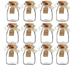 Idea Regalo - Amajoy barattoli in vetro con tappo in sughero per bomboniere, con bigliettino in carta e spago, ideali per bomboniere matrimonio, come vasetti per miele, confezione da 16 pezzi