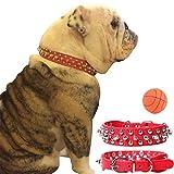 teemerryca Spiked Hundehalsbänder aus Leder Rot große Hundehalsbänder für Rottweller Cane Corso Deutsche Dogge Frenchie Bulldog-Halsbänder Einstellbare Hundehalsbänder 45cm-52cm