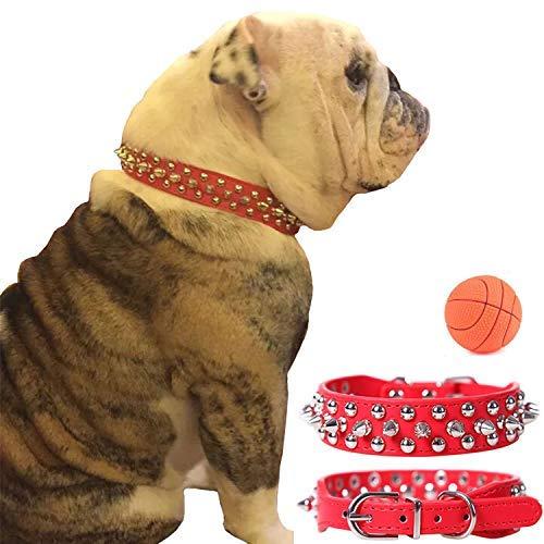 Teemerryca Collar para Perro básico de Piel sintética Resistente con Tachuelas