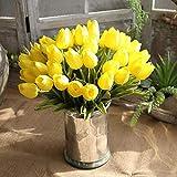 Mini Tulpe, Frashing Unechte Blumen Blumenrebe Künstliche Deko Blumen Gefälschte Blumen Seidenrosen Plastik Braut Trockenblumen für Haus Garten Party Simulation Blumen (Gelb)
