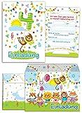 12 Einladungskarten zum 4. Kindergeburtstag für Jungen / Mädchen incl. 12 Umschläge / Bunte Einladungen zum Geburtstag für Jungen/Mädchen Süße Tierchen / Süße AFFE (12 Karten + 12 Umschläge)