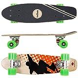 FunTomia Mini-Board Cruiser Skateboard 57cm aus 7-lagigem kanadischem Ahornholz inkl. Mach1 ABEC-11 Kugellager - mit Oder Ohne LED Rollen (Orange Skater2 / mit grünen Rollen)