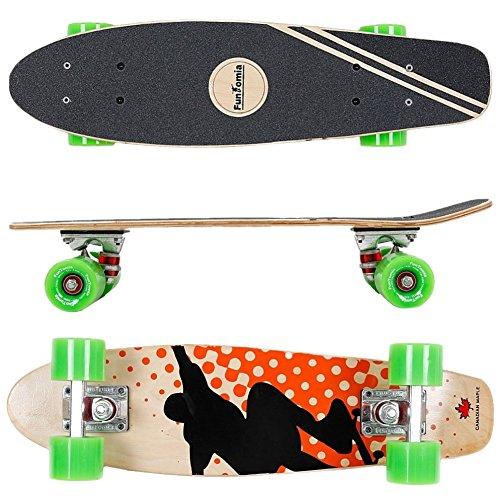 FunTomia Skateboard Mini Cruiser 57cm - 7ply strati di acero canadese - Con o senza ruote a LED (Skater arancione - Ruote senza LED)