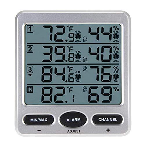 ZUEN Luftfeuchtigkeitsmonitor, Wireless LCD-Digital-Thermometer Hygrometer Indoor/Outdoor Remote Sensor Umweltwetterstation Anzeige