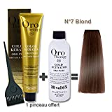 Lot coloration cheveux 100 ml Oro Therapy blond 7/ + oxydant 20 volumes 150 ml