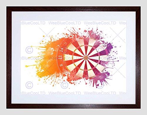 SPORT DARTS PAINT SPLASH SPLATTER DARTBOARD BLACK FRAMED ART PRINT B12X13354 (Dart-stop)