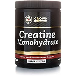Crown Sport Nutrition Creatina Monohidrato Creapure, Suplemento para Deportistas, Polvo sabor Neutro - 300 gr