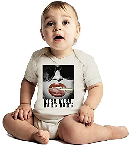 Kiss Kiss Bang Bang Sexy Hot Babe Amazing Quality Baby Bodysuit by Benito Clothing - Made From 100% Organic Cotton- Super Soft V-Neck Style - Unisex Design- Perfect As A Present 3-6 months