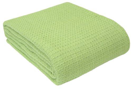 Homescapes waschbare Piqué Waffel Decke 230 x 280 cm Tagesdecke Überwurf Plaid aus 100% biologischer Baumwolle, lindgrün (King-size-decke Waffel)