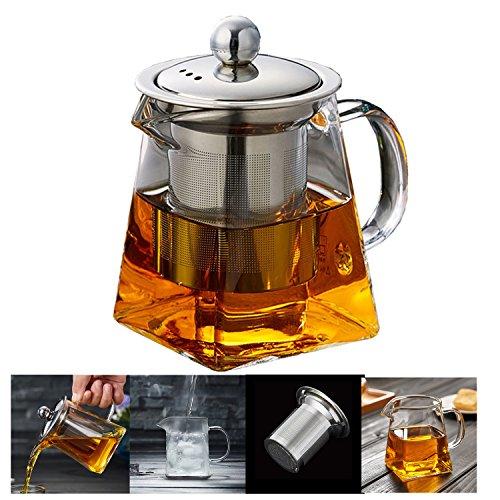 Teekanne Glas Teebereiter 350 ml PLUIESOLEIL mit Abnehmbare Edelstahl-Sieb