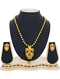 The Luxor Antique Traditonal Gold Plated Temple Jewellery Pendant Necklace Set With Earrings For Woemn And Girls