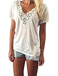 NINGNETI Mujeres Summer Vest Top Blusa Casual Tops Manga Corta Camiseta De Encaje