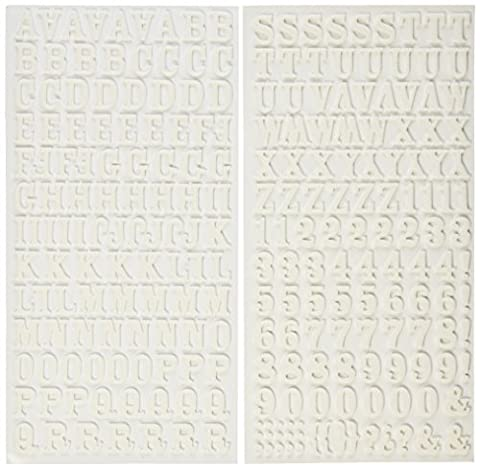 American Crafts 6x 27,9cm Rockabye Thickers Foam Aufkleber Blatt, weiß, 2Stück (Thickers Letters)