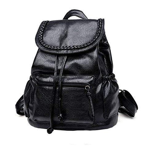 2017 Drawstring gewaschen Leder schwarz Frauen Rucksack Leder Rucksäcke für Teenager-Mädchen Schultasche Rucksack (groß) -