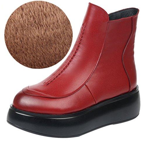 Vogstyle Femme Cuir Véritable Ronde Croûte Épaisse Botte Style 2 Fleece Red