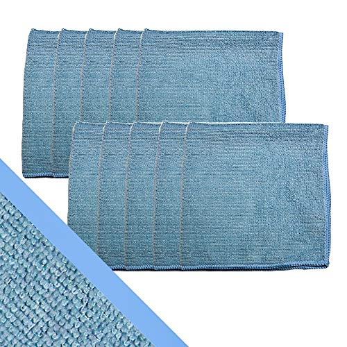 Mop Knight   10 Stück Professional Mikrofasertücher mit extremer Saugfähigkeit für Haushalt, Küche und Industrie   Fusselfreie Putzlappen zur Reinigung und Pflege, 40x40cm, blau