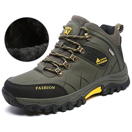 NEOKER Wanderschuhe Wasserdicht Wandernstiefel Herren Sneaker Outdoorschuhe Trekking Fell Gefüttert Schuhe Armee Grün 44