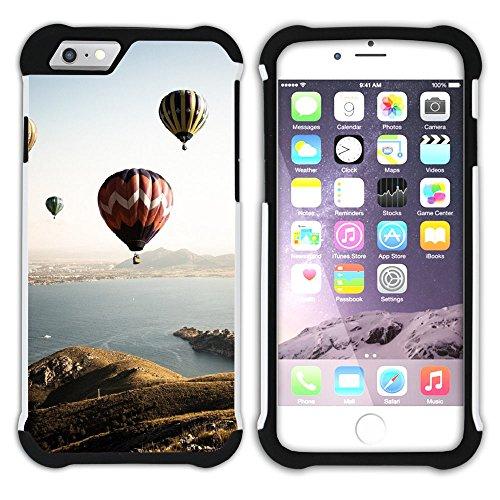 Graphic4You Heißluftballon Sicht auf den Himmel Flug Hart + Weiche Kratzfeste Hülle Case Schale Tasche Schutzhülle für Apple iPhone 6 Plus / 6S Plus Design #16