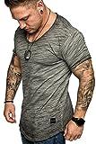 REPUBLIX Oversize Herren Vintage T-Shirt Verwaschen V-Neck Basic V-Ausschnitt Shirt R16 Anthrazit L