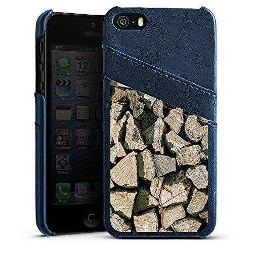 Apple iPhone 5s Housse Étui Protection Coque Look bois Bûches Arbre Étui en cuir bleu marine