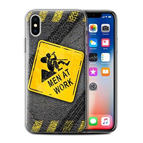 Stuff4 Gel TPU Hülle / Case für Apple iPhone X/10 / Hammerzeit Muster / Lustige Wegweiser Kollektion Bauarbeiten