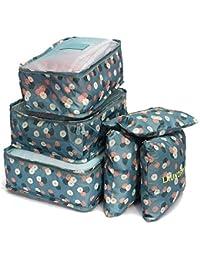 Hk Villa Polyester, Nylon And Leather Waterproof Blue Floral Travel Garment Bag Women Storage Bag For Bra Socks...