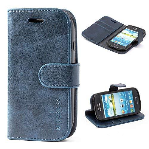 Mulbess Handyhülle Samsung Galaxy S3 Mini Hülle Leder, [Ledertasche mit BookStyle] Flip Case Tasche Etui Schutzhülle für Samsung S3 Mini Hülle Leder, Dunkel Blau