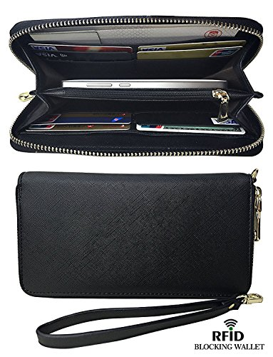Damen Lady Leder Lang Geldbörse Clutches Mädchen Brieftasche Handtasche Geldbeutel mit RFID Schutz (Geldbörse Damen Leder-clutch)