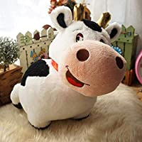 QIXIDAN 35Cm Realistic Animal Stuffed Cow With Soft Horn Cuddly Cow Plush Toy For Kids Snuggling Black & White