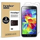 [2 Pack] Samsung Galaxy S5 / S5 Neo Protector de Pantalla, iVoler Protector de Pantalla de Vidrio Templado Cristal Protector para Samsung Galaxy S5 / S5 Neo -Dureza de Grado 9H, Espesor 0,30 mm, 2.5D Round Edge-[Ultra-trasparente] [Anti-golpe] [Ajuste Perfecto] [No hay Burbujas]- Garantía Incondicional de 18 Meses