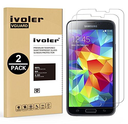 Ivoler [2 pack] vetro temperato compatibile con samsung galaxy s5 / s5 neo [garanzia a vita], pellicola protettiva protezione per schermo per samsung galaxy s5 / s5 neo
