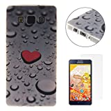 CaseHome Compatible for Samsung Galaxy A5 2015/A500FU Silicone Coque Housse Transparente Flexible Resistante TPU Protecteur Housse Etui - Coeur Rouge et Goutte de Pluie
