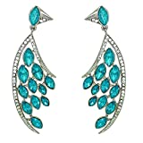 Mahi Feather Shaped Sky Blue Marquise Pa...