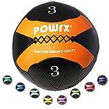 POWRX Wall-Ball I 2-10 kg I Medizinball Gewichtsball in versch. Farben I Gymnastikball Deluxe (3 kg...