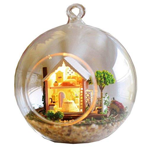 Mini verre DIY maison de poupée en bois Kit DIY Assemblage Modèle 3D Puzzle Décoration de maison Display Creative Handicraft Jouets de cadeau pour enfant(Pandora Magic Garden)