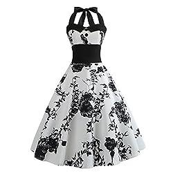 VEMOW Elegante Damen Damen Vintage Bodycon Sleeveless Halter beiläufige Tanzabend Party Prom Brautjungfern Swing Dress Faltenrock Cocktailkleid (Weiß, 44 DE/XXL CN)