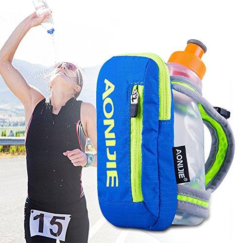 """AONIJIE Nylon """"Quick Grip Chill"""" Handheld Water Bottle Trinkflasche Trinkrucksack mit 250ML Trinkflasche (Blau)"""