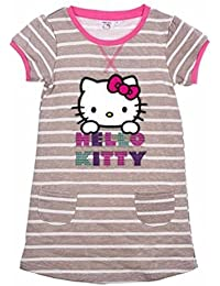 Hello Kitty Filles Robe Manches Courtes Rayures Grises