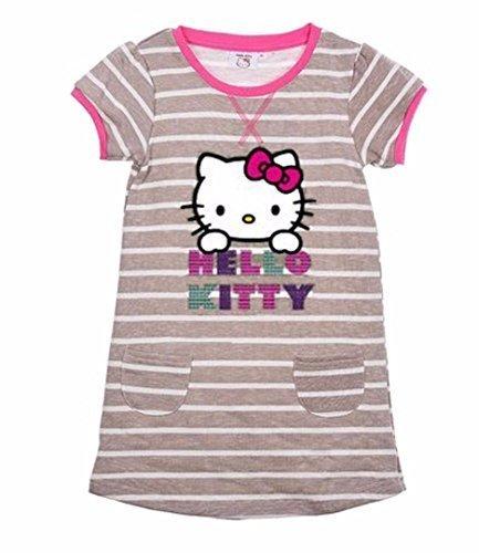 Hello Kitty Mädchen Kurzärmeliges Kleid Grau Streifen - grau, 98cm, 2-3 (Mädchen Kleid Hello Kitty)