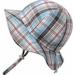Sombrero de sol para bebés 50+ UPF transpirable, tamaño ajustable con barbijo (P: 0 – 9 meses, Tela escocesa de verano)